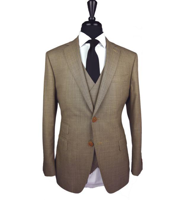 Camel Herringbone Wool Suit