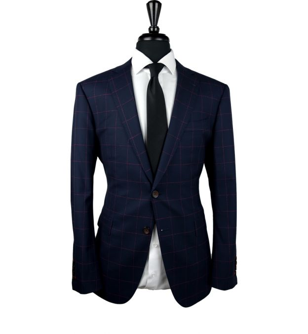 Midnight Blue Red Drip Windowpane Wool Suit