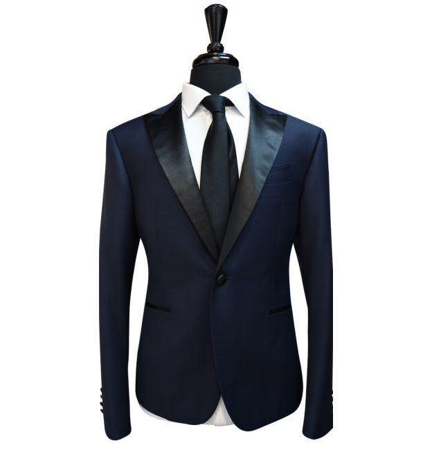 Dark Denim Blue Wool Tuxedo