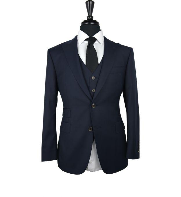 Dark Denim Blue Wool Suit