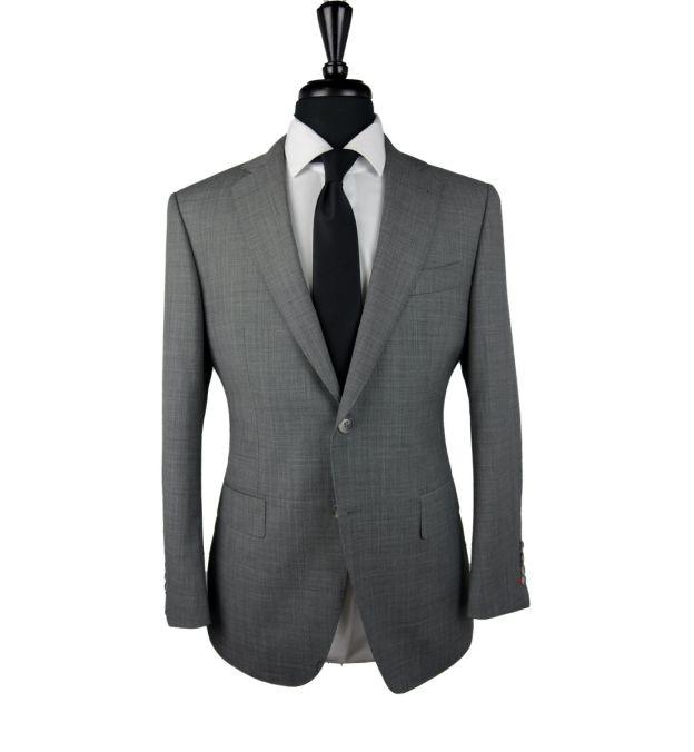 Grey Sharkskin Wool Suit