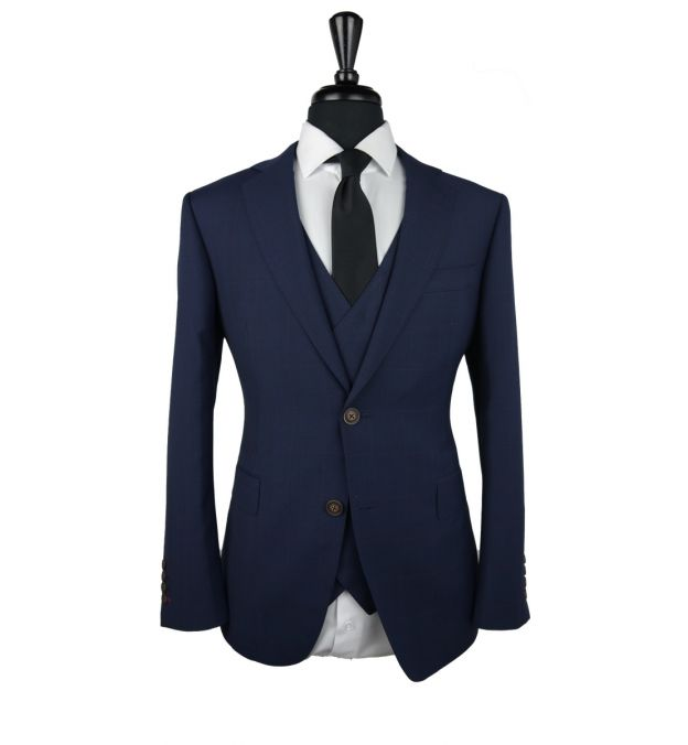 Midnight Blue Prince of Wales Wool Suit