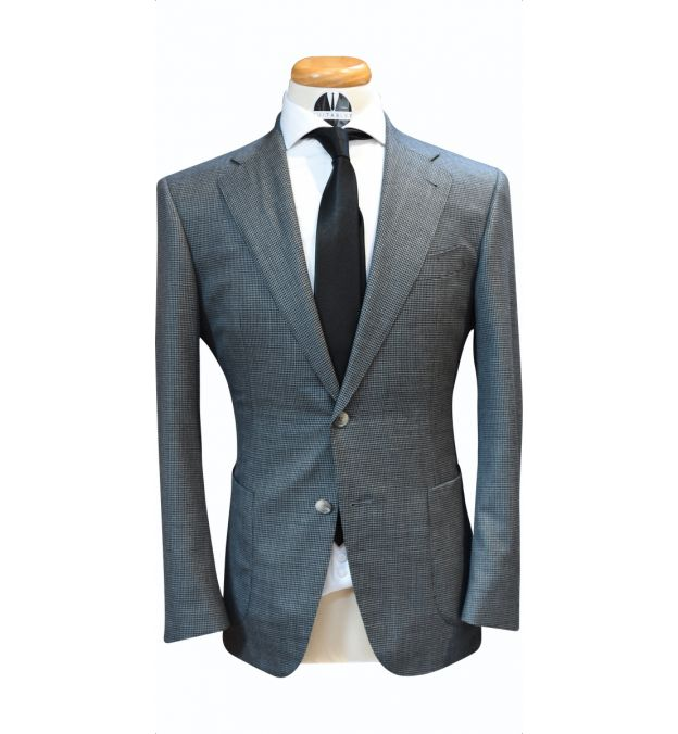 Grey Houndstooth Wool Suit