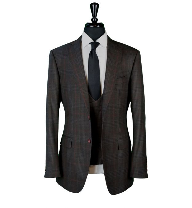 Brown Check Wool Suit