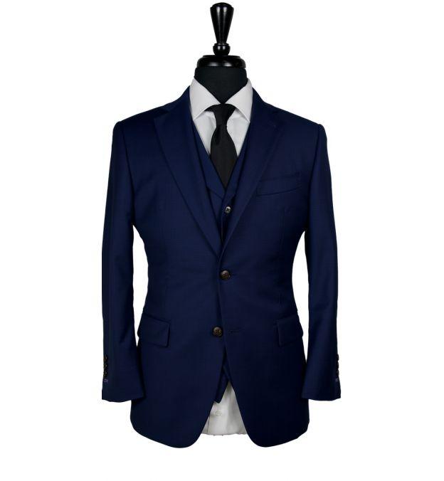 Navy Blue Subtle Check Wool Suit
