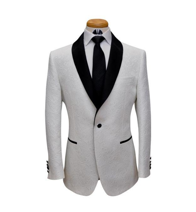 Off White Paisley Jacquard Tuxedo