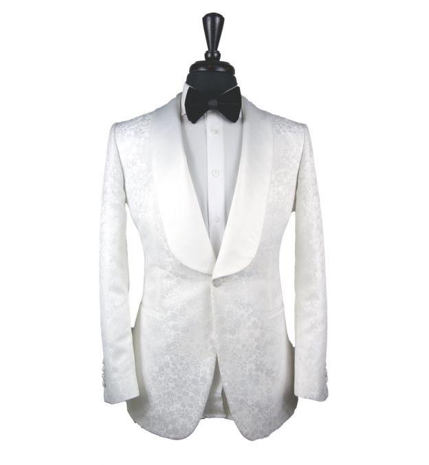 All-White Floral Jacquard Tux