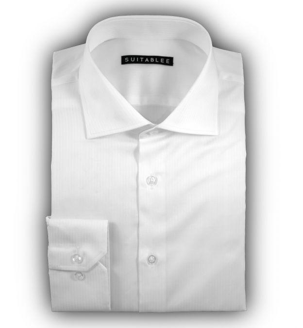 White Micro-Herringbone Dress Shirt