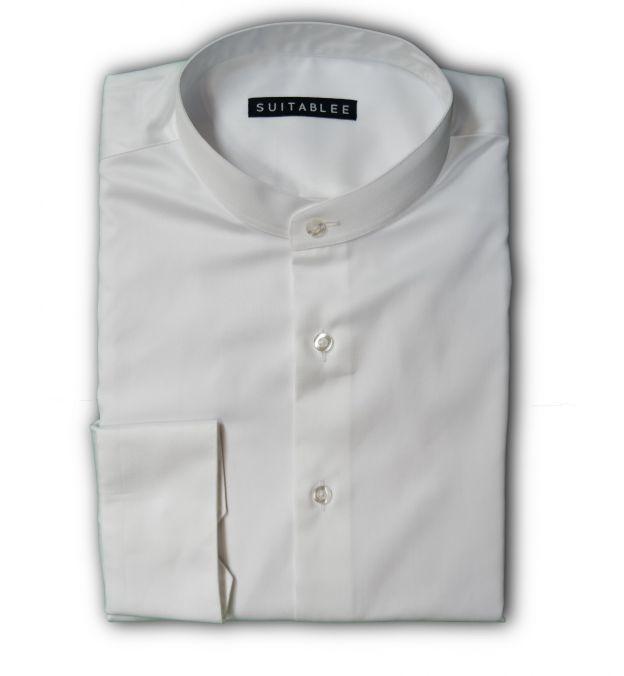 White Mandarin Collar Dress Shirt