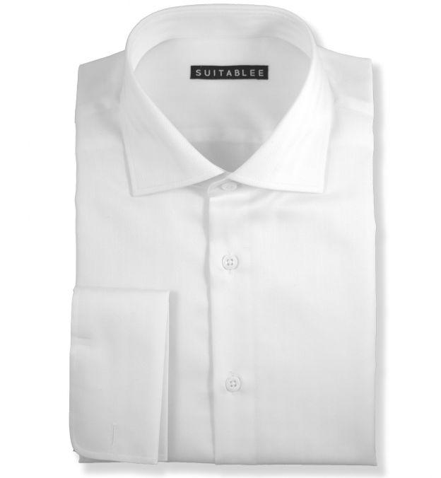 White Herringbone Dress Shirt