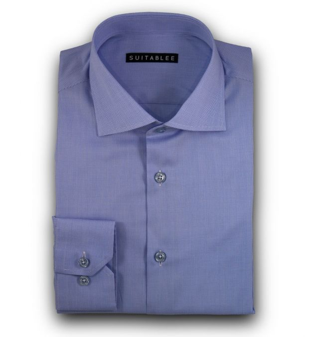 Blue Mini-Houndstooth Dress Shirt