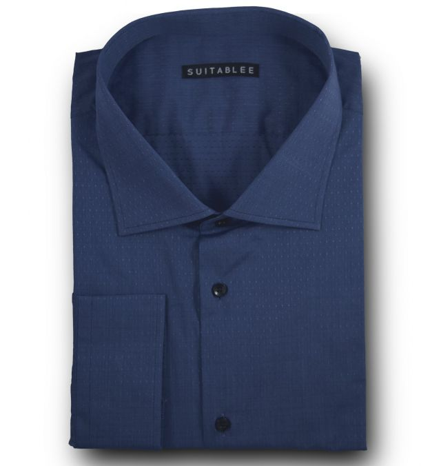 Blue Dotted End-on-End Dress Shirt