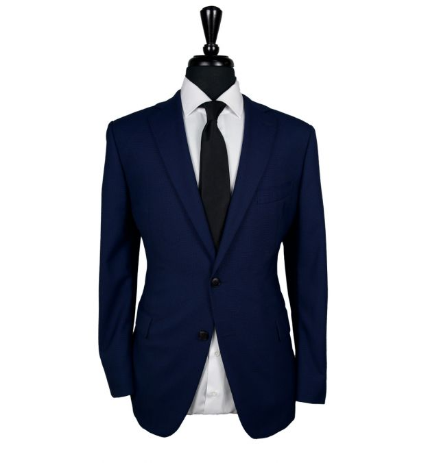 Blue Houndstooth Comfort Wool Suit