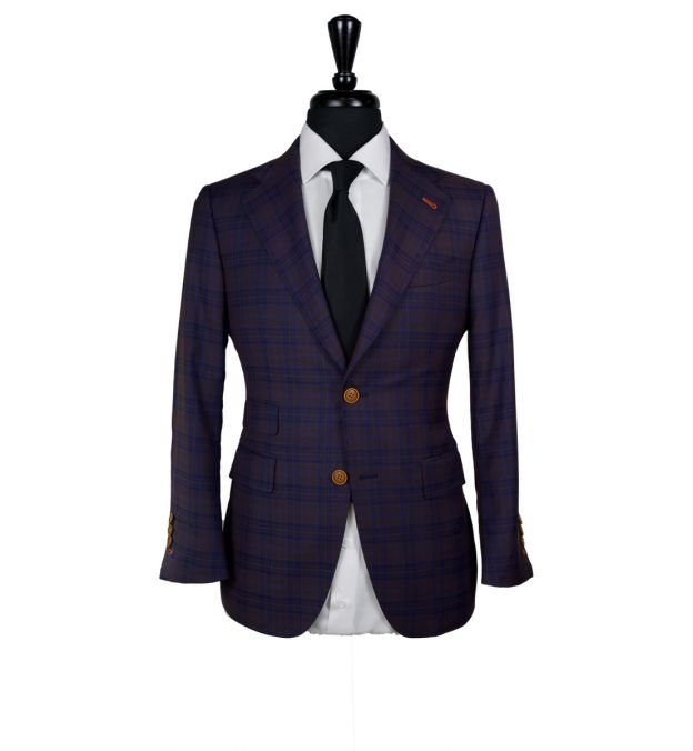 Plum Checkered Wool Suit