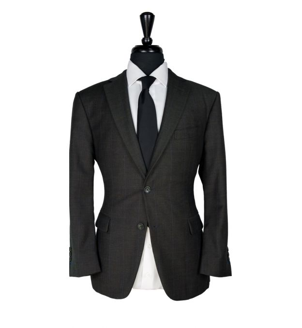 Brown Windowpane Wool Suit