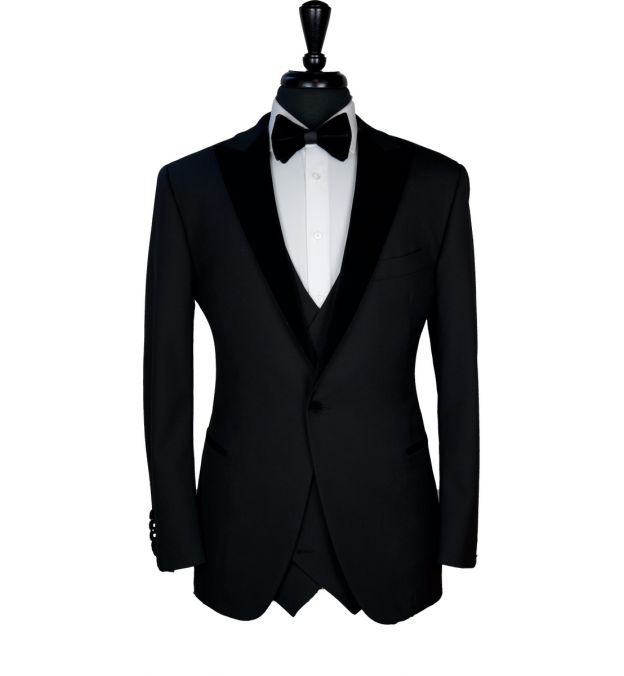 Classy Black Wool with Velvet Lapel Tuxedo