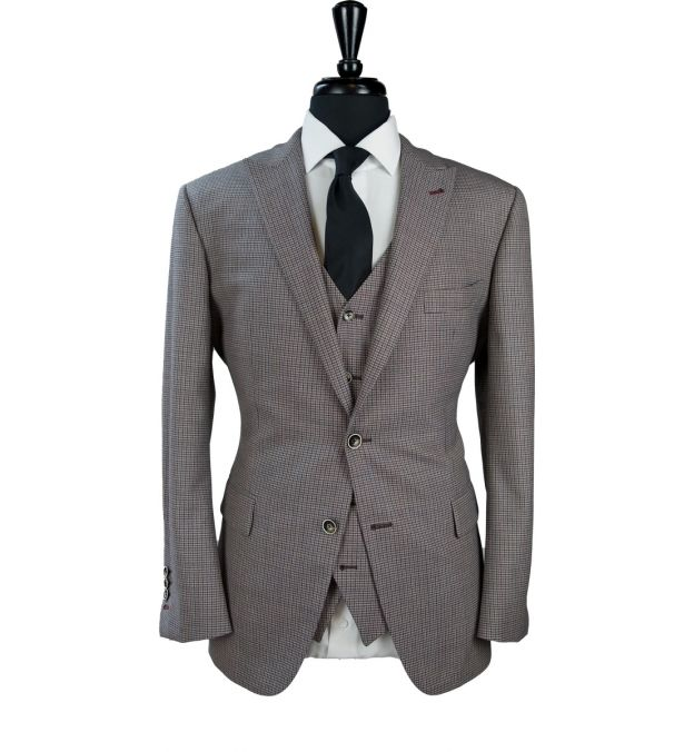 Tanned Houndstooth Wool Suit