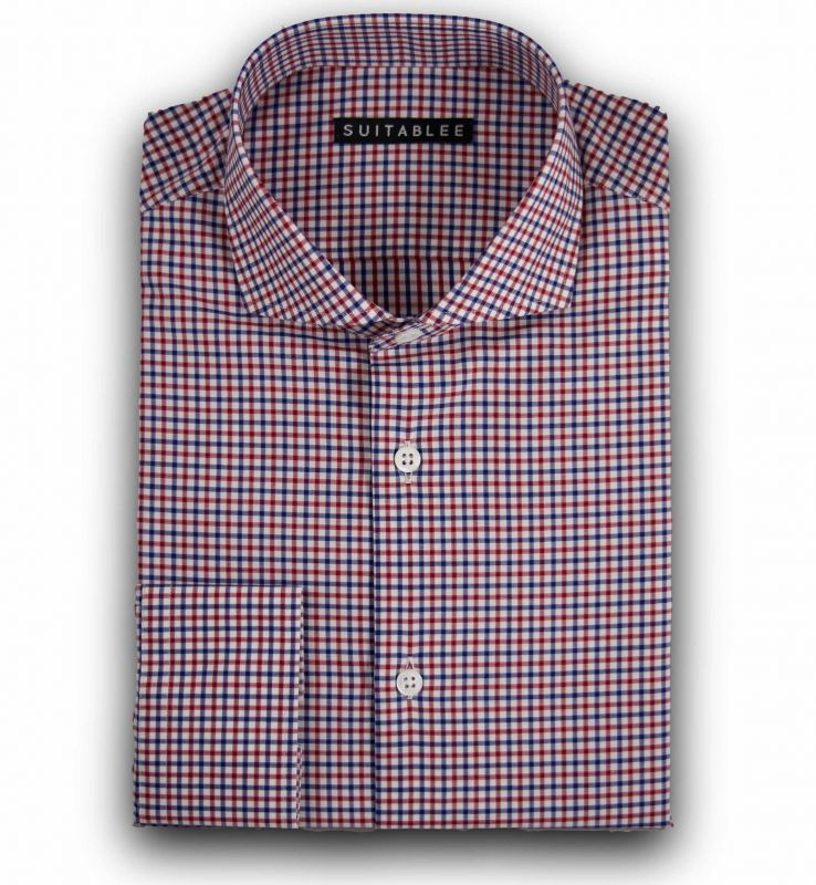 Red and Blue Check Poplin Dress Shirt