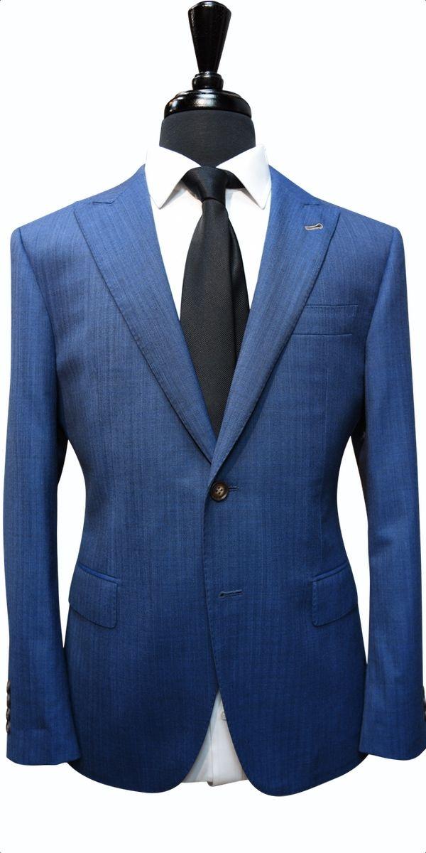 Sapphire Blue Herringbone Wool Suit