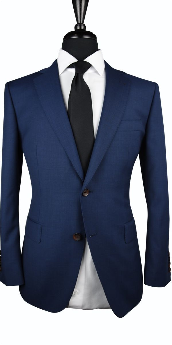 Navy Blue Prince of Wales Glencheck Wool Suit