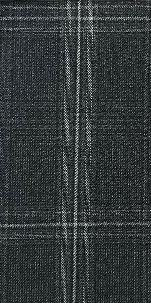 Dark Grey Large Windowpane Wool Suit