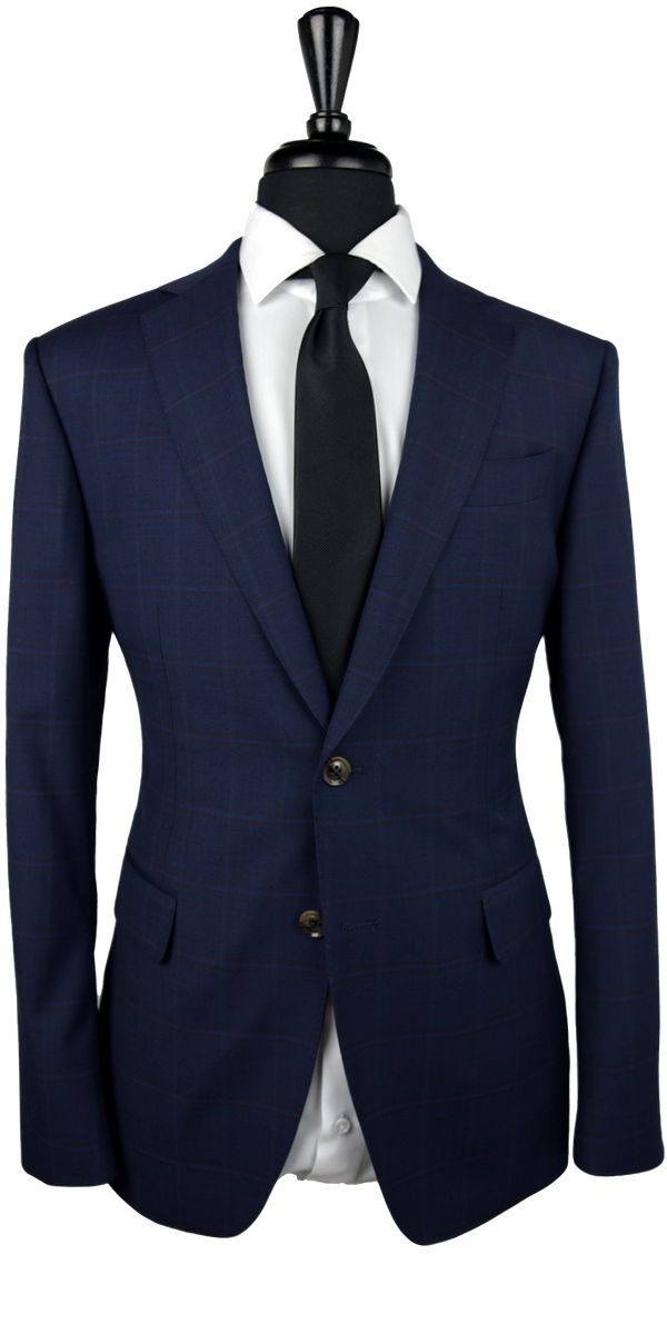 Navy Blue with Burgundy Plaid Wool Suit