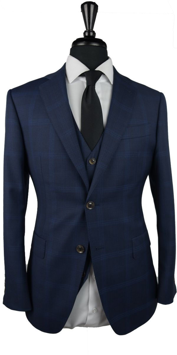 Berry Blue Check Wool Suit