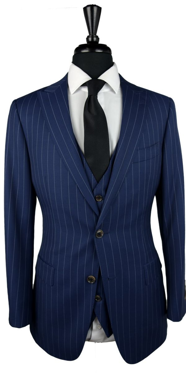 Navy Blue Pinstripe Wool Suit