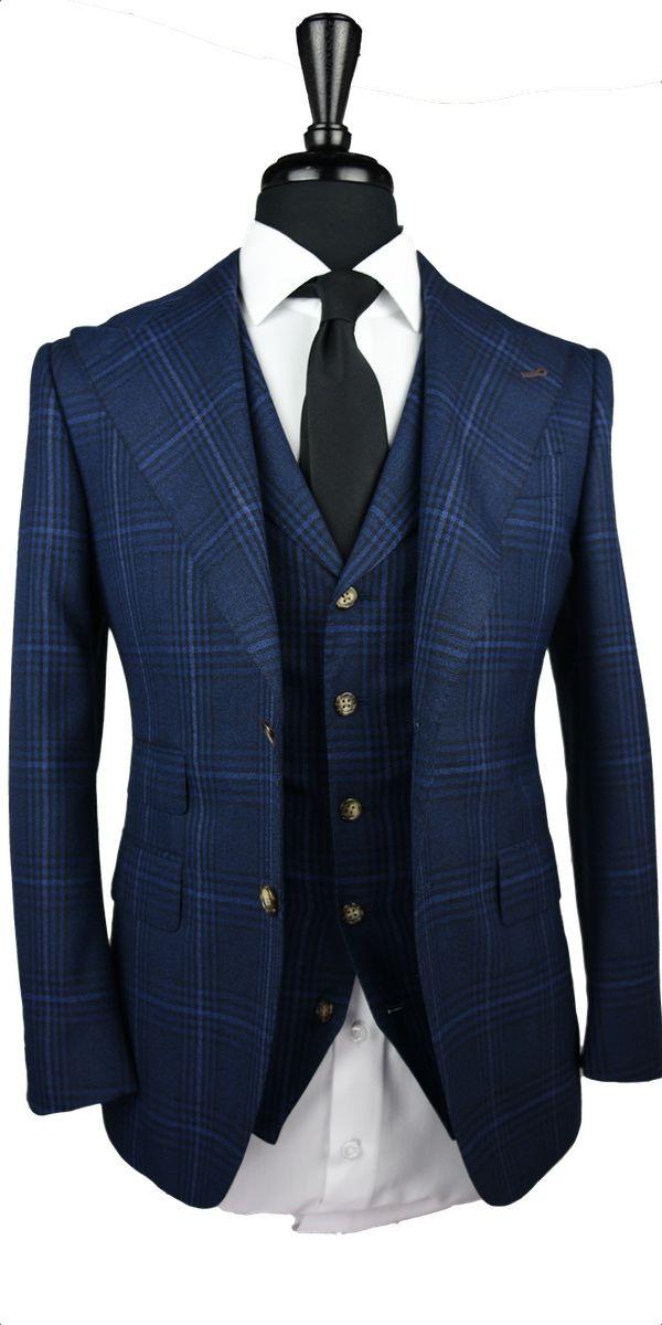 Textured Navy Blue Windowpane Wool Suit