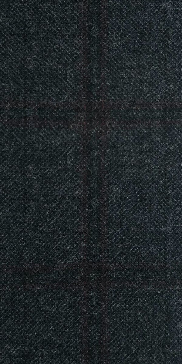 Charcoal Burgundy Check Cashmere Wool Suit