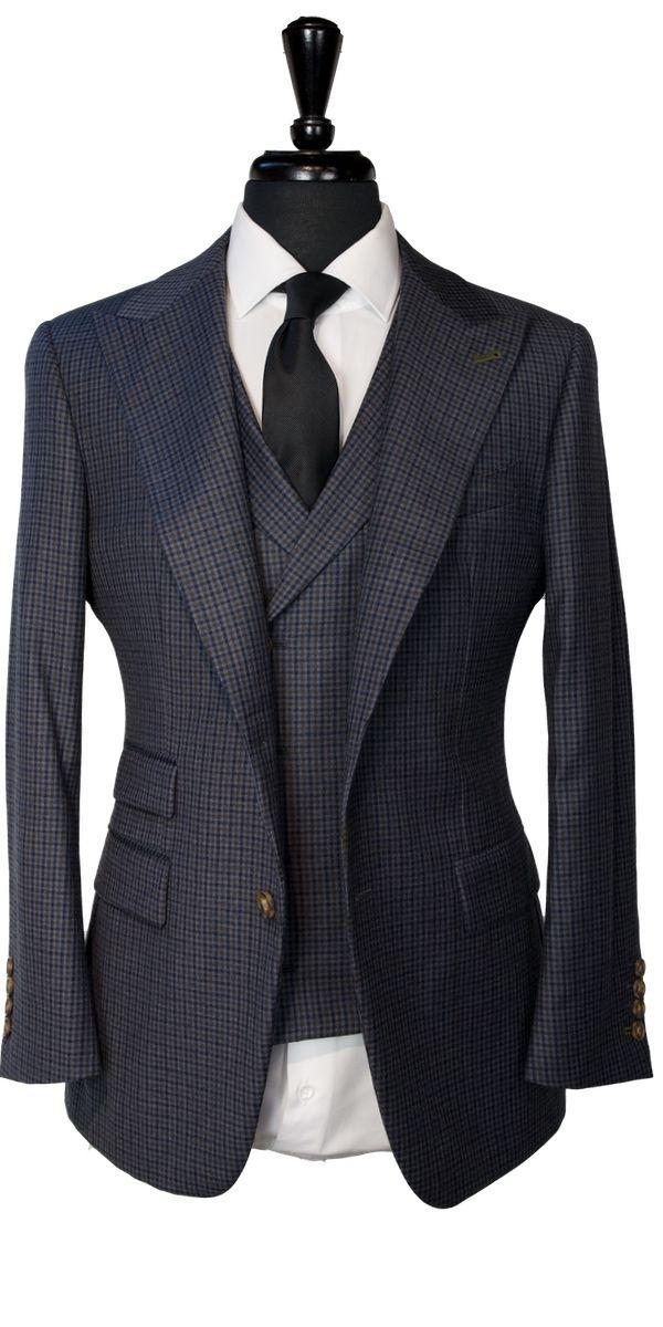 Navy Blue Brown Gingham Wool Suit