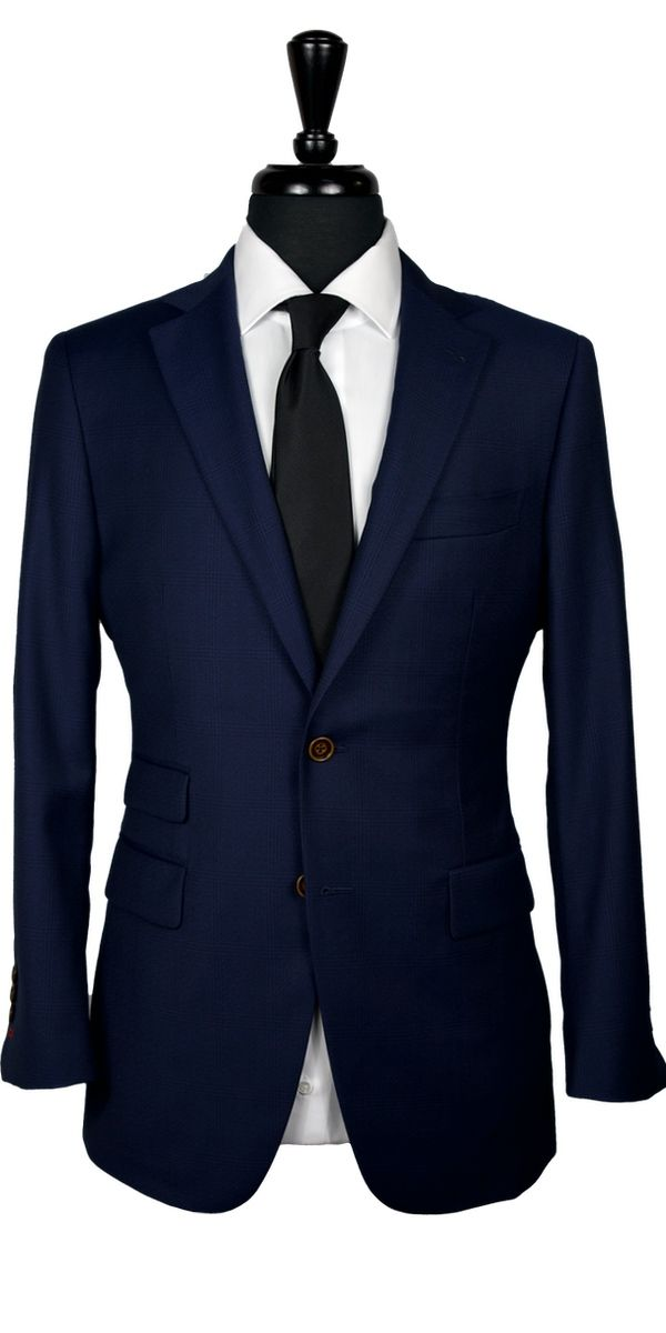 Blue Melange Windowpane Wool Suit