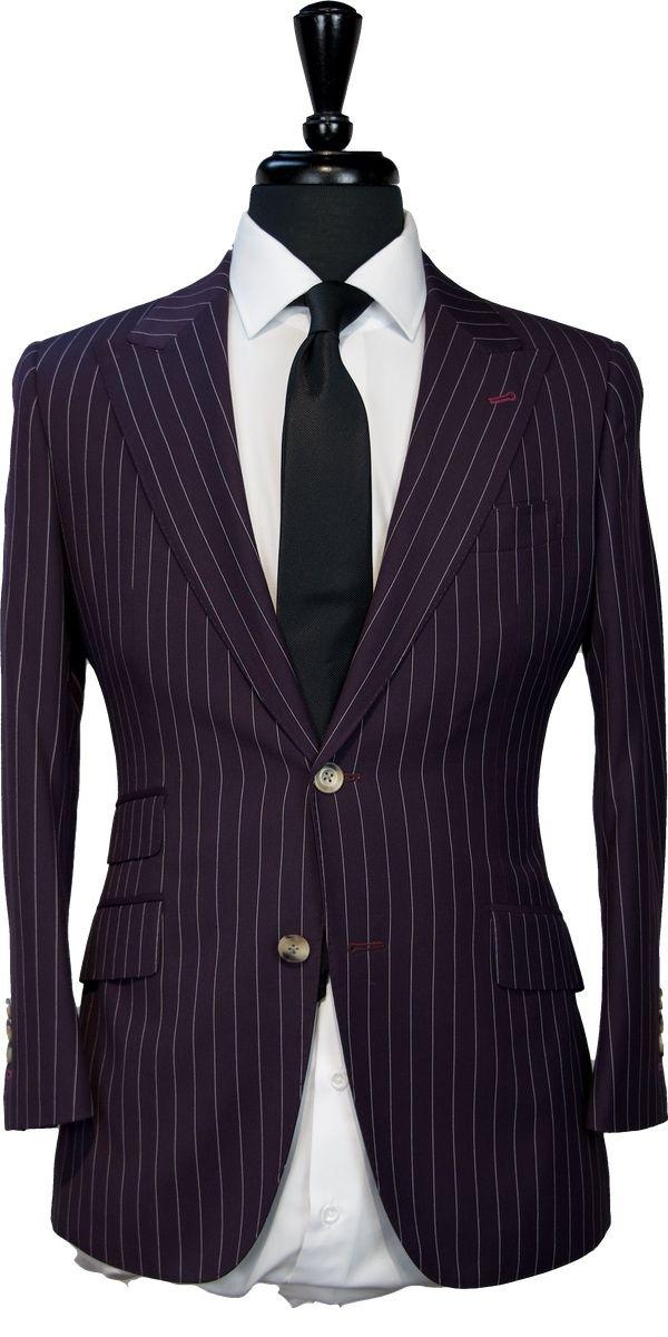 Purple Striped Wool Suit