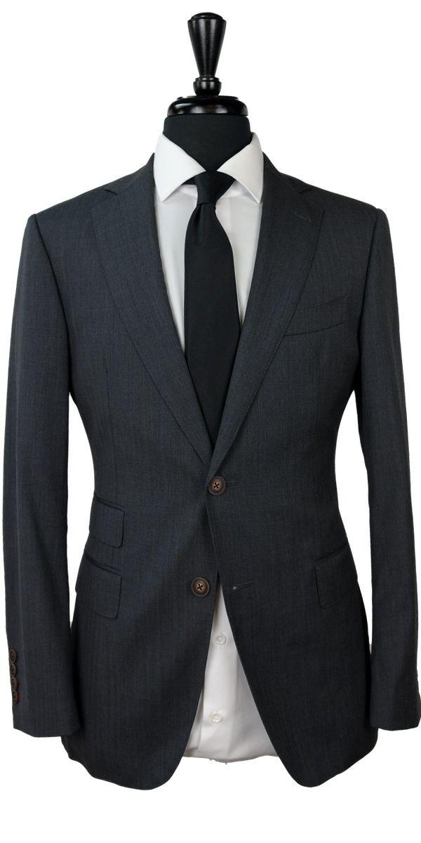 Charcoal Herringbone Wool Suit