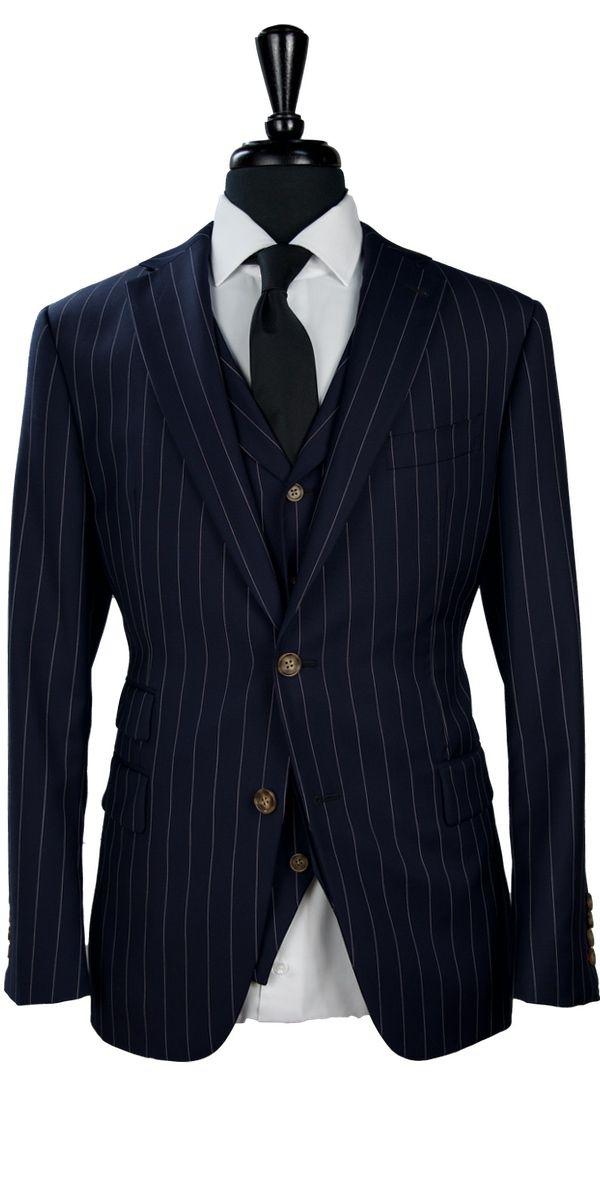 Dark Blue Pinstripe Wool Suit