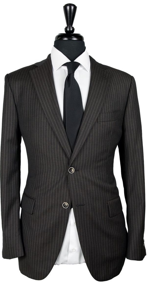 Chocolate Striped Wool Suit