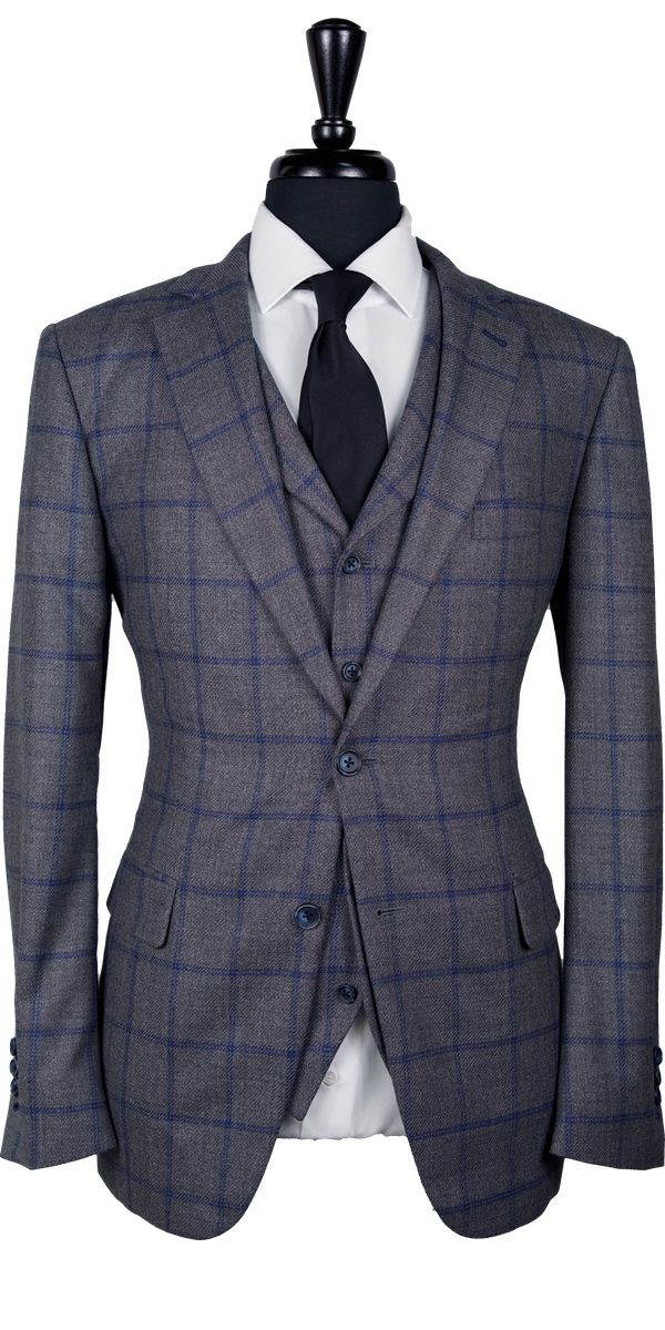Gray with Blue Windowpane Tweed Suit