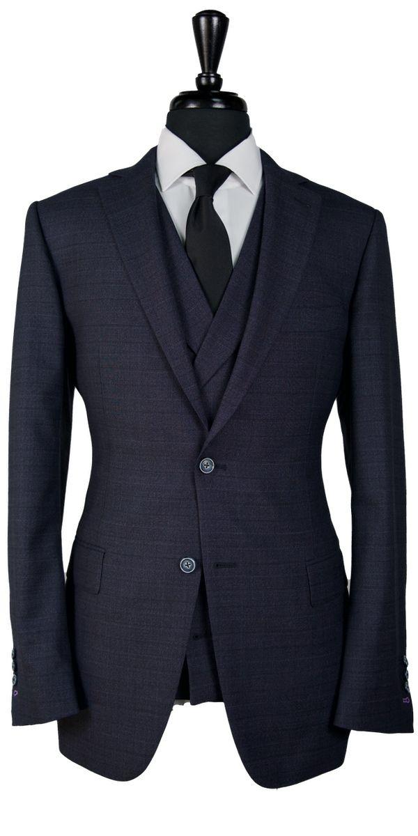Denim Blue Prince of Wales Wool Suit