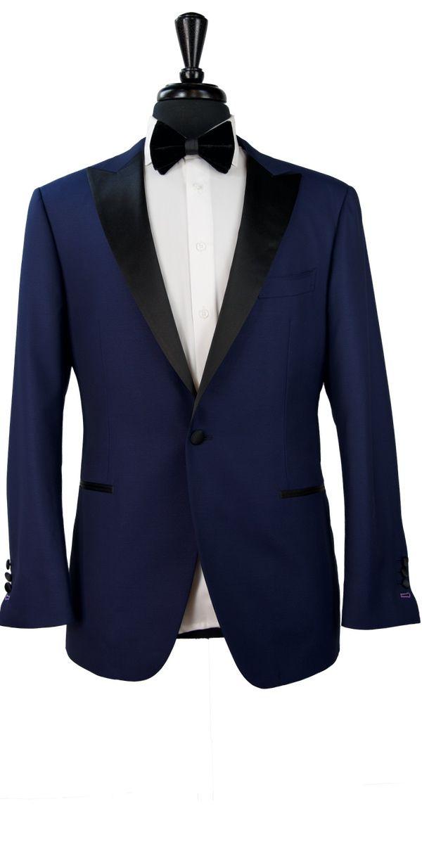 Navy Blue Dobby Wool Tuxedo
