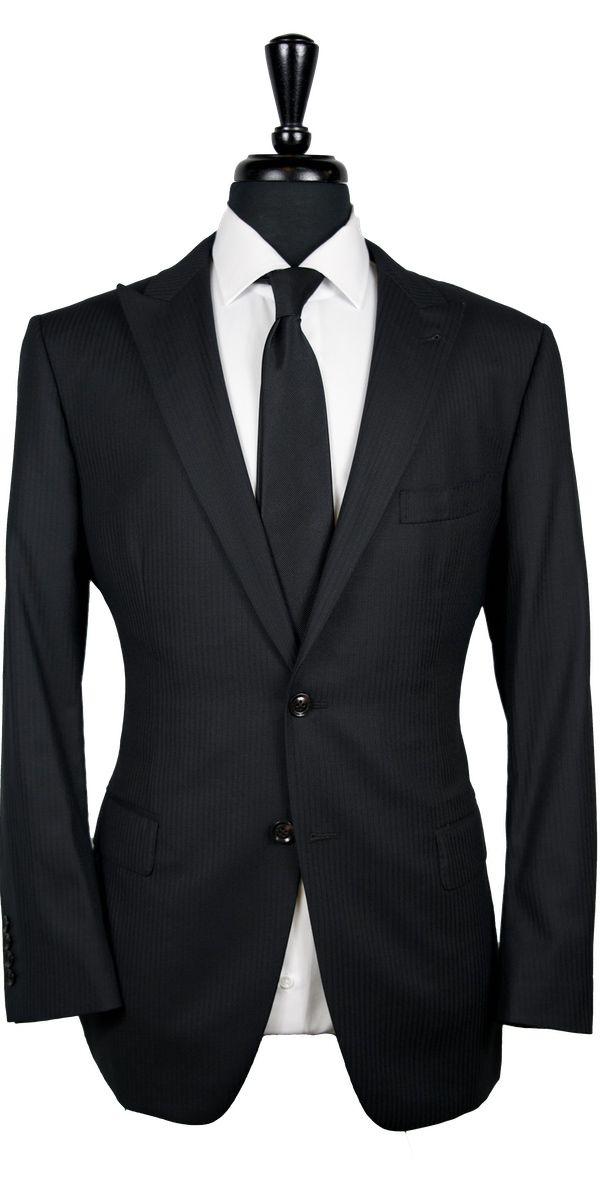 Black on Black Stripe Wool Suit