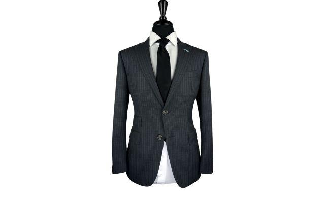 Metallic Herringbone Wool Suit