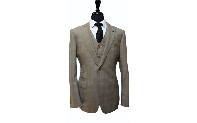 Light Brown Prince of Wales Wool Suit