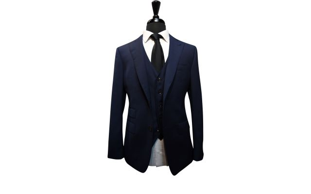 Navy Blue Textured Wool Suit