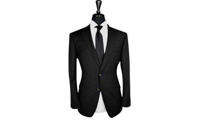 Black Herringbone Wool Suit