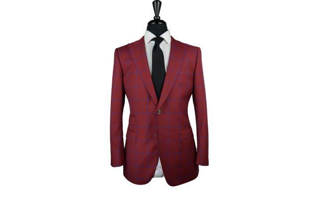 Red Windowpane Wool Suit