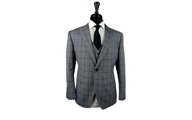 Grey Windowpane Sharkskin Wool Suit