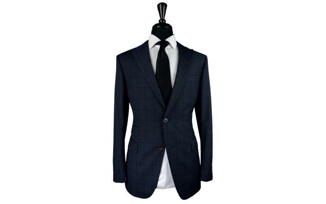 Charcoal with Subtle Blue Windowpane Wool Suit