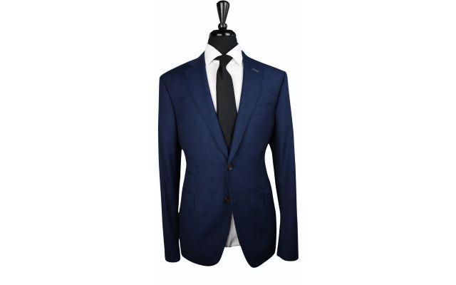 Navy Blue Plaid Wool Suit
