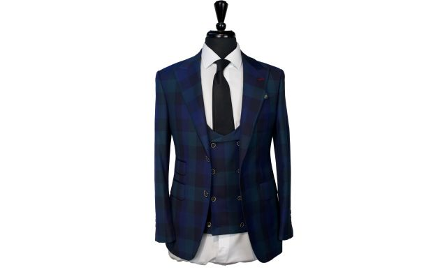 Green and Blue Checker Wool Suit