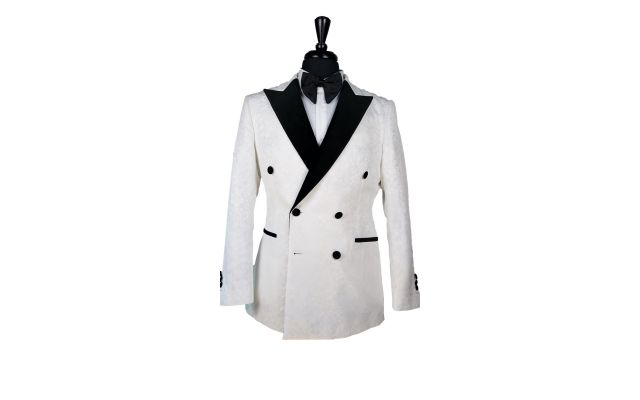 White Floral Jacquard Tuxedo